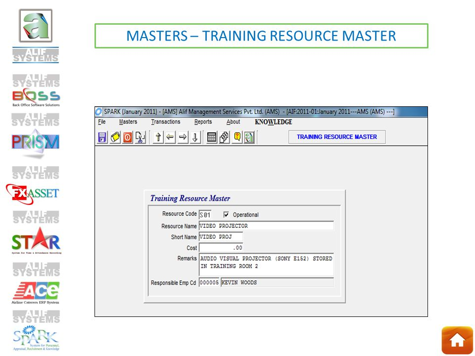 MASTERS – TRAINING RESOURCE MASTER