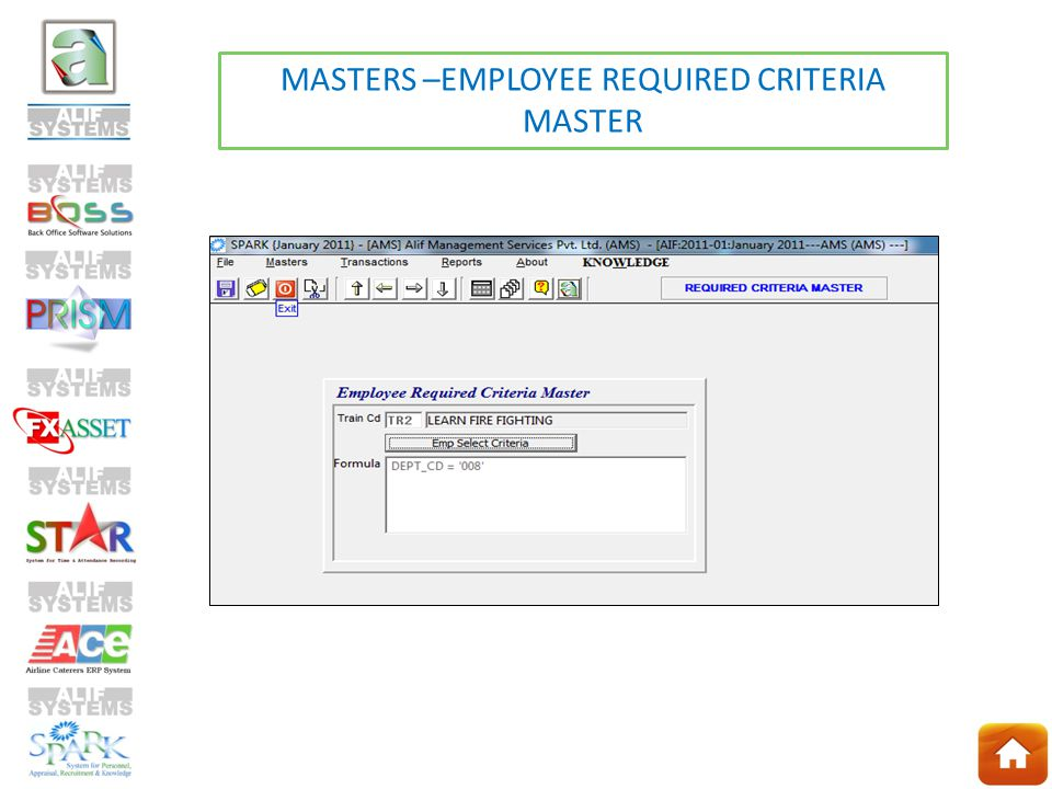 MASTERS –EMPLOYEE REQUIRED CRITERIA MASTER