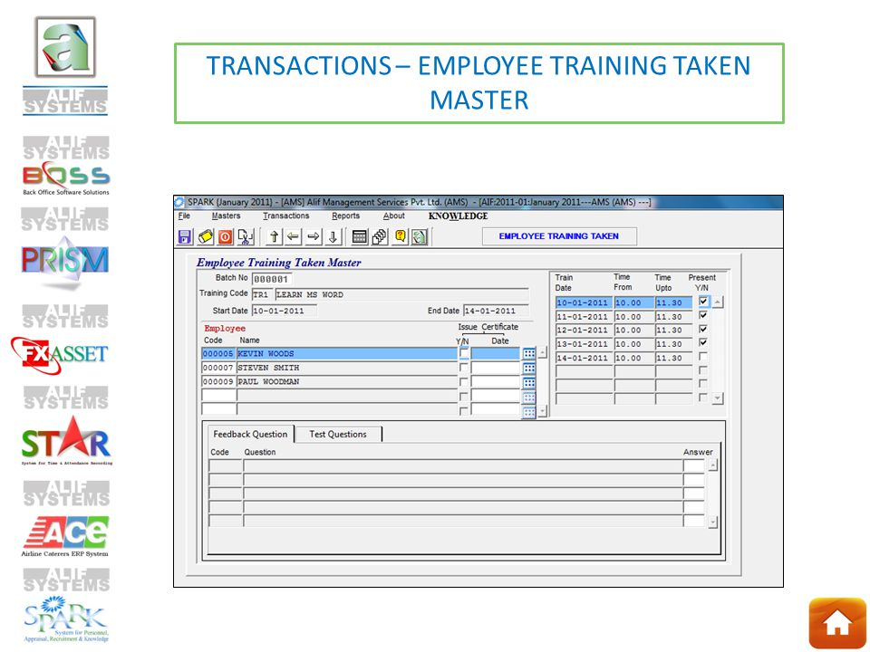 TRANSACTIONS – EMPLOYEE TRAINING TAKEN MASTER