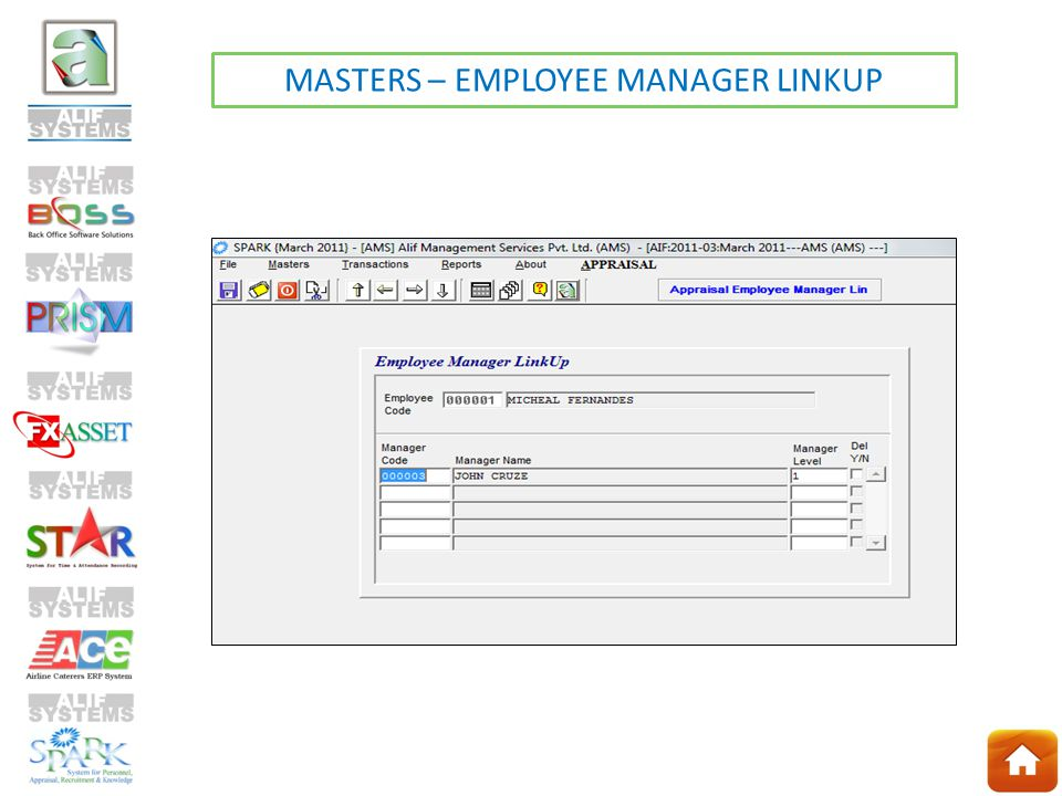 MASTERS – EMPLOYEE MANAGER LINKUP
