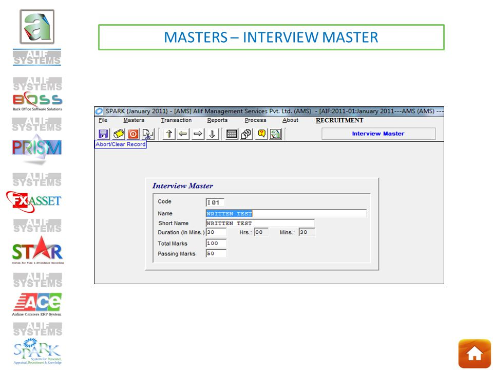 MASTERS – INTERVIEW MASTER