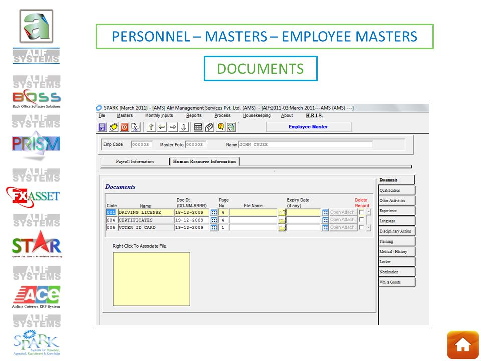 PERSONNEL – MASTERS – EMPLOYEE MASTERS DOCUMENTS