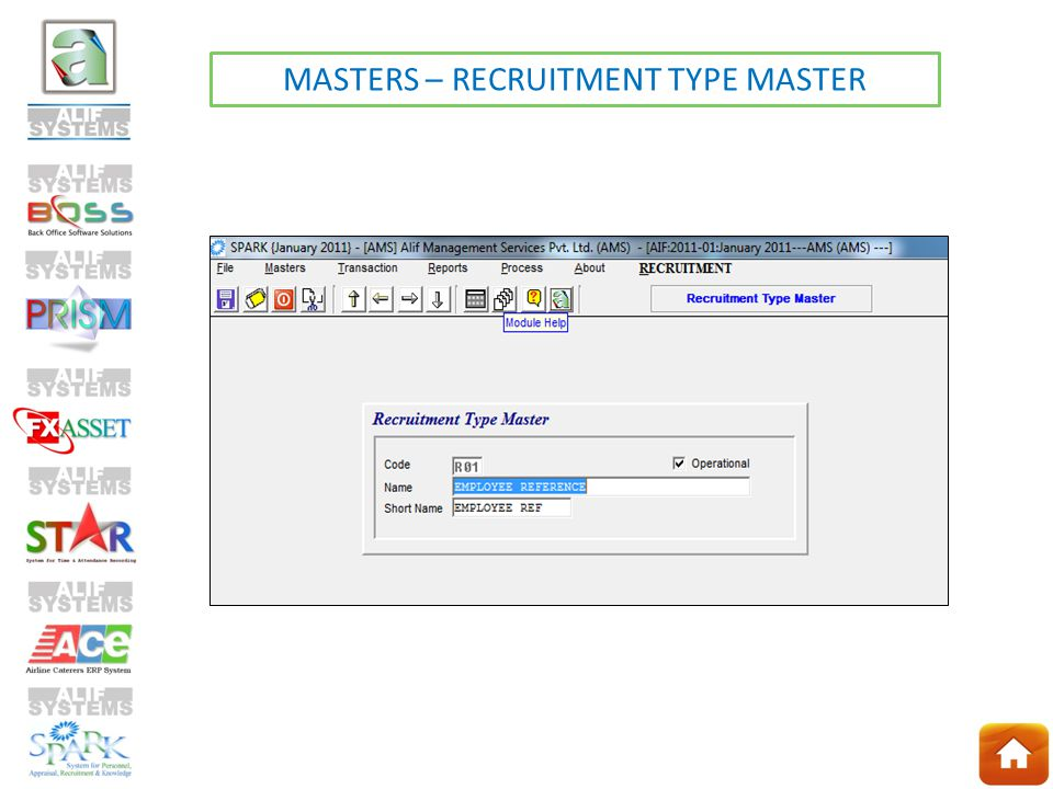 MASTERS – RECRUITMENT TYPE MASTER