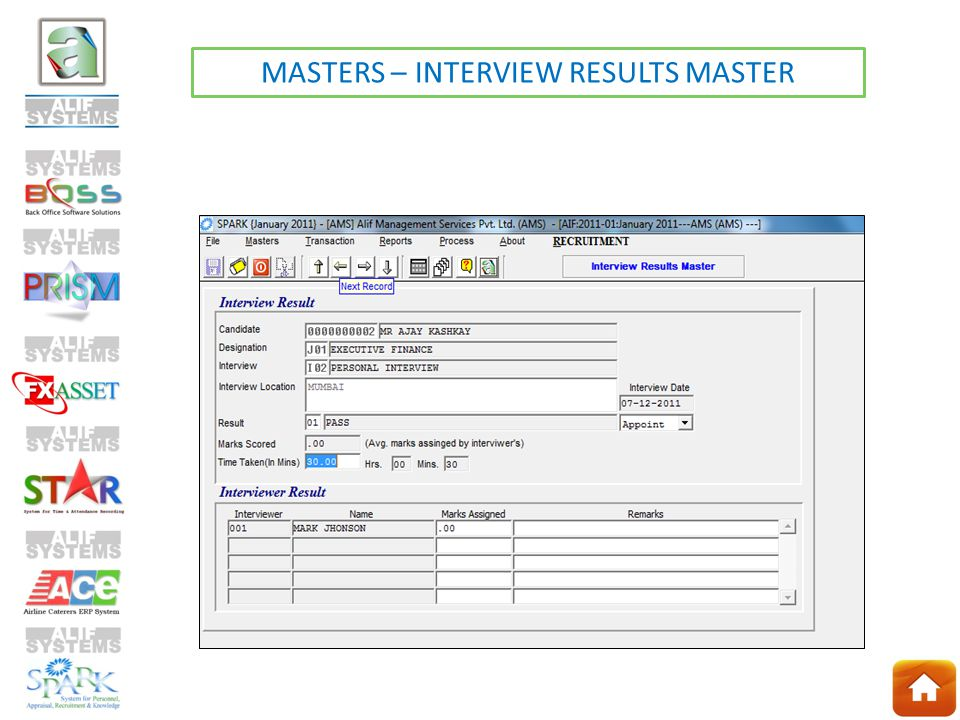 MASTERS – INTERVIEW RESULTS MASTER