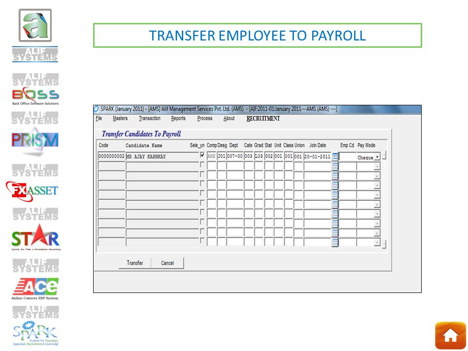 TRANSFER EMPLOYEE TO PAYROLL