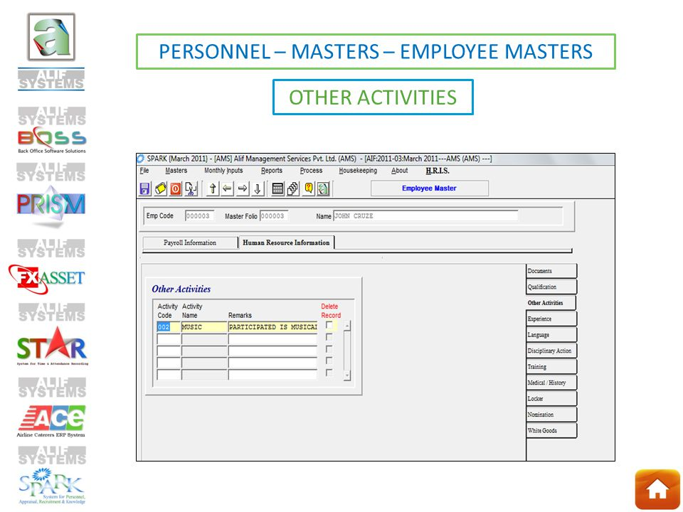 OTHER ACTIVITIES PERSONNEL – MASTERS – EMPLOYEE MASTERS