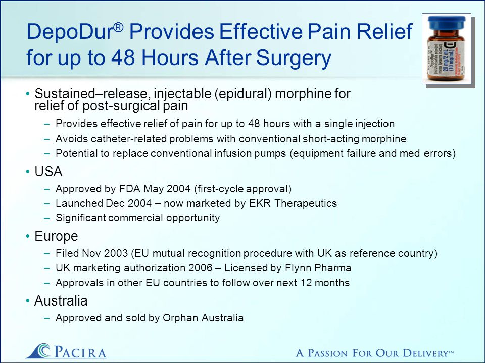 DepoDur ® Provides Effective Pain Relief for up to 48 Hours After Surgery Sustained–release, injectable (epidural) morphine for relief of post-surgical pain –Provides effective relief of pain for up to 48 hours with a single injection –Avoids catheter-related problems with conventional short-acting morphine –Potential to replace conventional infusion pumps (equipment failure and med errors) USA –Approved by FDA May 2004 (first-cycle approval) –Launched Dec 2004 – now marketed by EKR Therapeutics –Significant commercial opportunity Europe –Filed Nov 2003 (EU mutual recognition procedure with UK as reference country) –UK marketing authorization 2006 – Licensed by Flynn Pharma –Approvals in other EU countries to follow over next 12 months Australia –Approved and sold by Orphan Australia