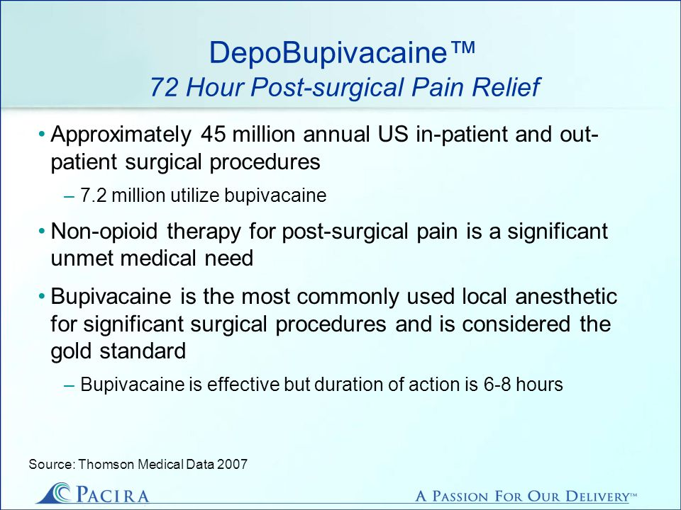 DepoBupivacaine 72 Hour Post-surgical Pain Relief Approximately 45 million annual US in-patient and out- patient surgical procedures –7.2 million utilize bupivacaine Non-opioid therapy for post-surgical pain is a significant unmet medical need Bupivacaine is the most commonly used local anesthetic for significant surgical procedures and is considered the gold standard –Bupivacaine is effective but duration of action is 6-8 hours Source: Thomson Medical Data 2007