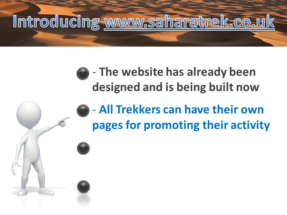 - All Trekkers can have their own pages for promoting their activity