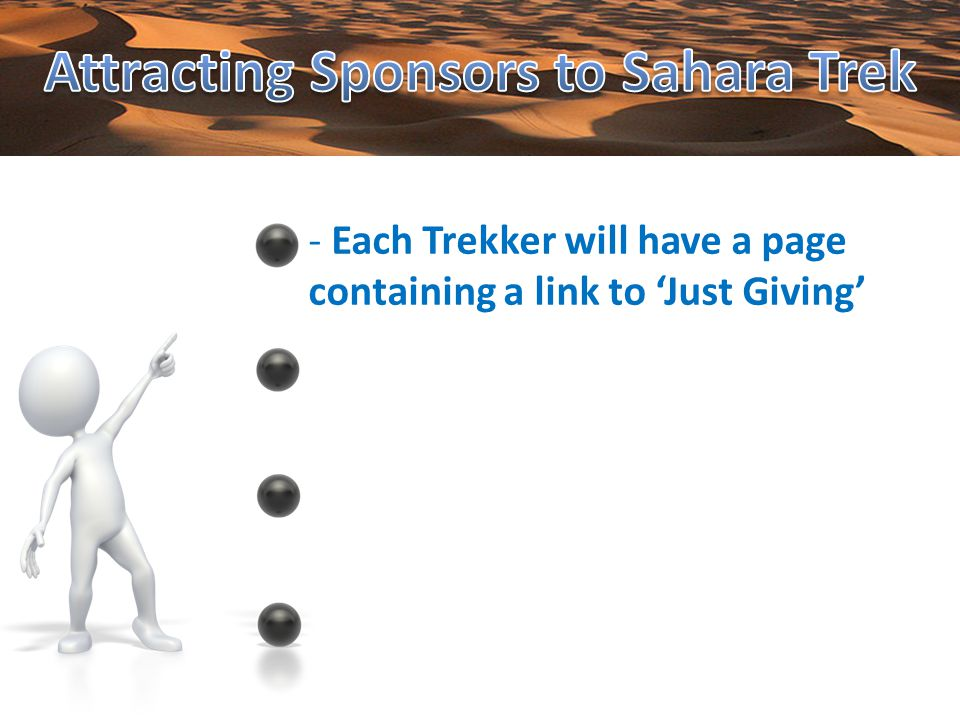- Each Trekker will have a page containing a link to Just Giving