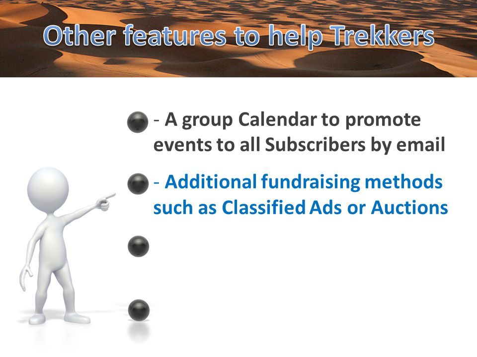 - Additional fundraising methods such as Classified Ads or Auctions