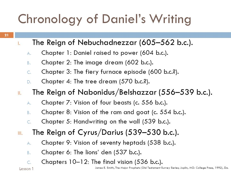 Chronology of Daniels Writing 21 I. The Reign of Nebuchadnezzar (605–562 b.c.).