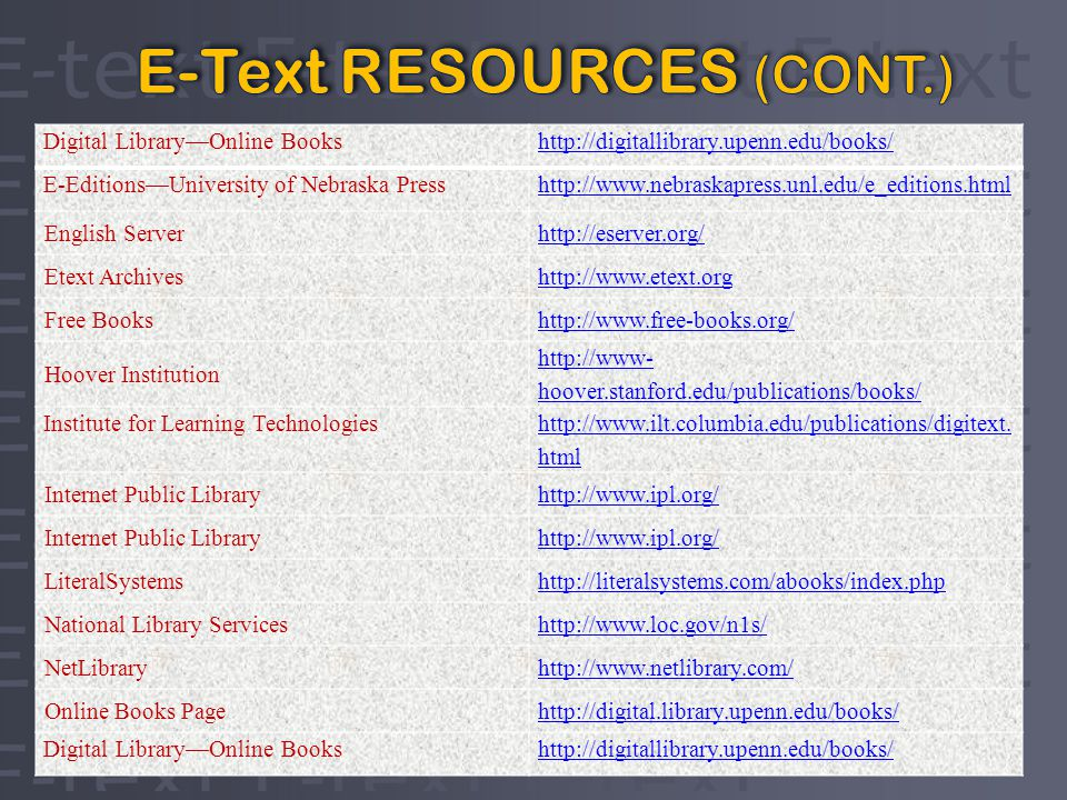 Digital LibraryOnline Bookshttp://digitallibrary.upenn.edu/books/ E-EditionsUniversity of Nebraska Presshttp://  English Serverhttp://eserver.org/ Etext Archiveshttp://  Free Bookshttp://  Hoover Institution   hoover.stanford.edu/publications/books/ Institute for Learning Technologies
