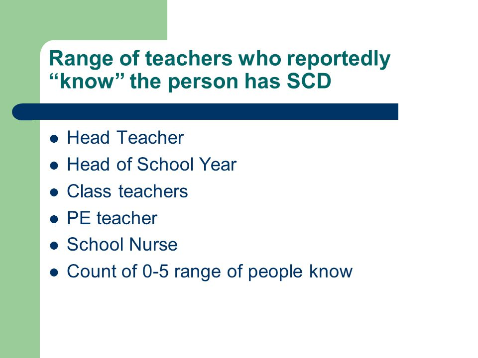 Range of teachers who reportedly know the person has SCD Head Teacher Head of School Year Class teachers PE teacher School Nurse Count of 0-5 range of people know