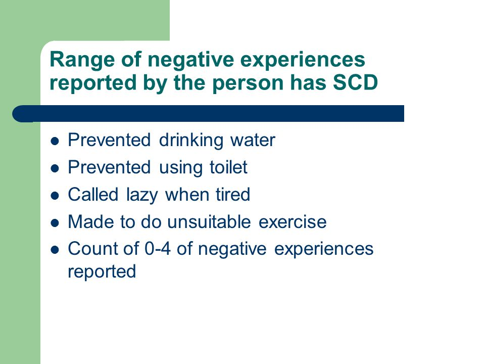 Range of negative experiences reported by the person has SCD Prevented drinking water Prevented using toilet Called lazy when tired Made to do unsuitable exercise Count of 0-4 of negative experiences reported