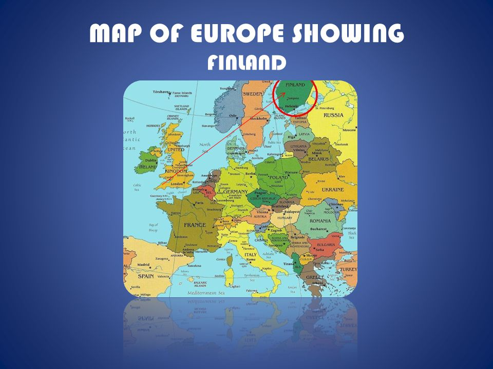MAP OF EUROPE SHOWING FINLAND