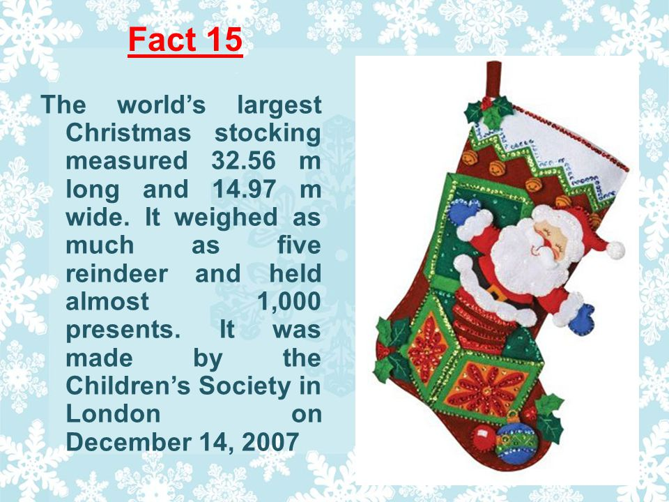 Fact 15 The worlds largest Christmas stocking measured 32.56 m long and 14.97 m wide.