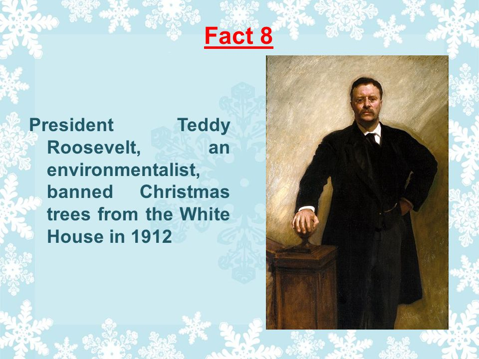 Fact 8 President Teddy Roosevelt, an environmentalist, banned Christmas trees from the White House in 1912
