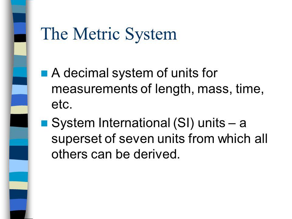 SI Units QuantityName of UnitAbbreviation Lengthmeterm Masskilogramkg TemperaturekelvinK Timeseconds Amount of Substancemolemol Electric currentampereA Luminous intensitycandelacd