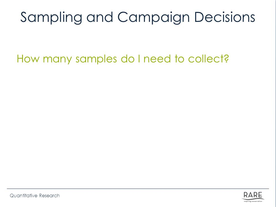 Quantitative Research Sampling and Campaign Decisions How many samples do I need to collect?