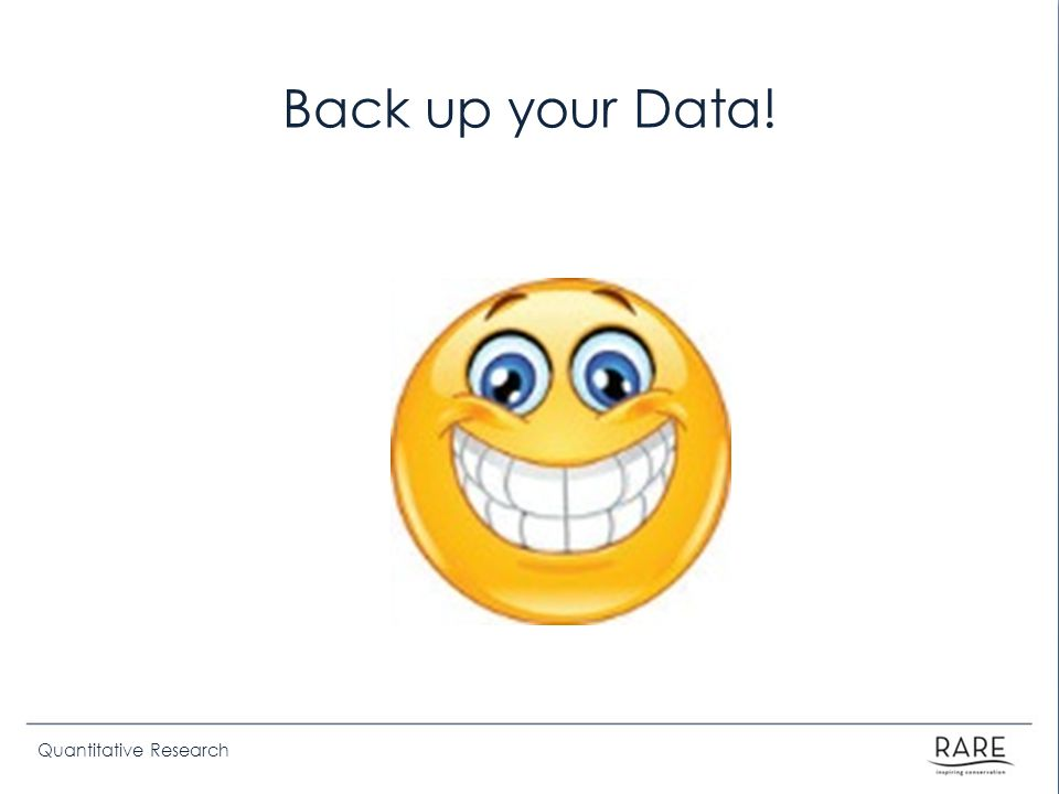 Quantitative Research Back up your Data!