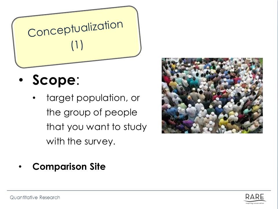Quantitative Research Scope : target population, or the group of people that you want to study with the survey. Comparison Site Conceptualization (1)