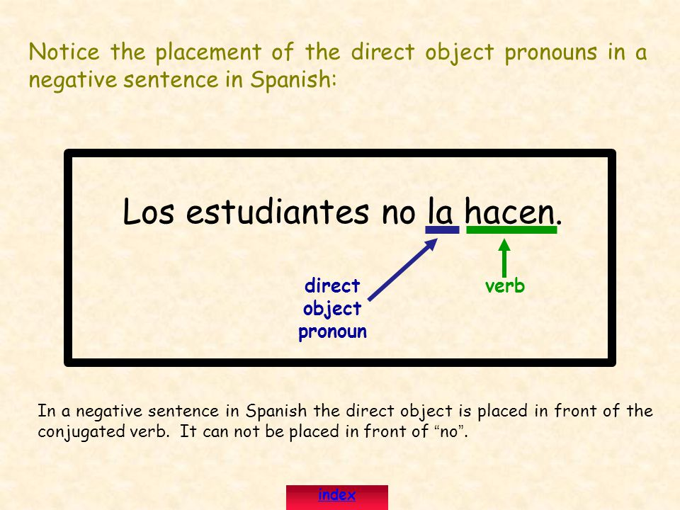 Notice the placement of the direct object pronouns in a negative sentence in Spanish: Los estudiantes no la hacen.