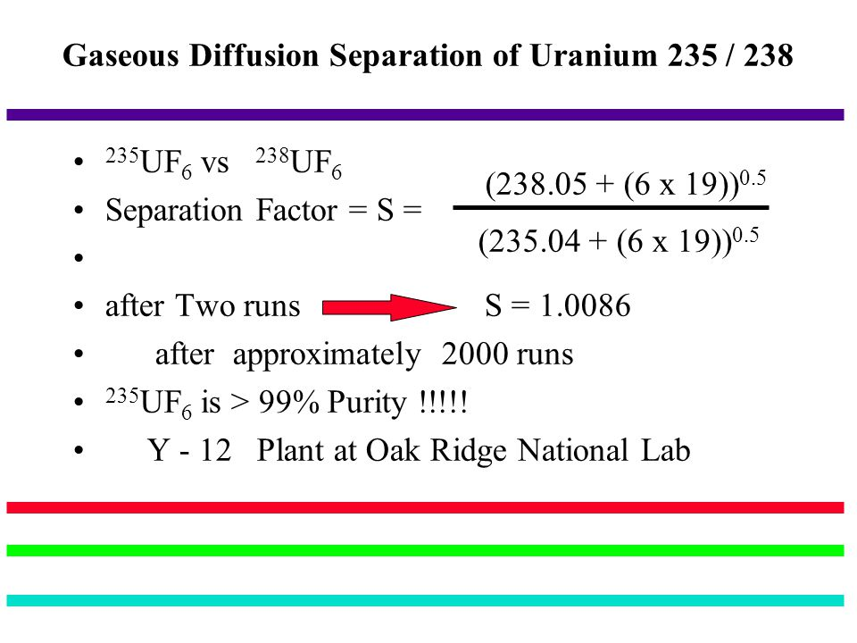 Gaseous Diffusion Separation of Uranium 235 / 238 235 UF 6 vs 238 UF 6 Separation Factor = S = after Two runs S = 1.0086 after approximately 2000 runs