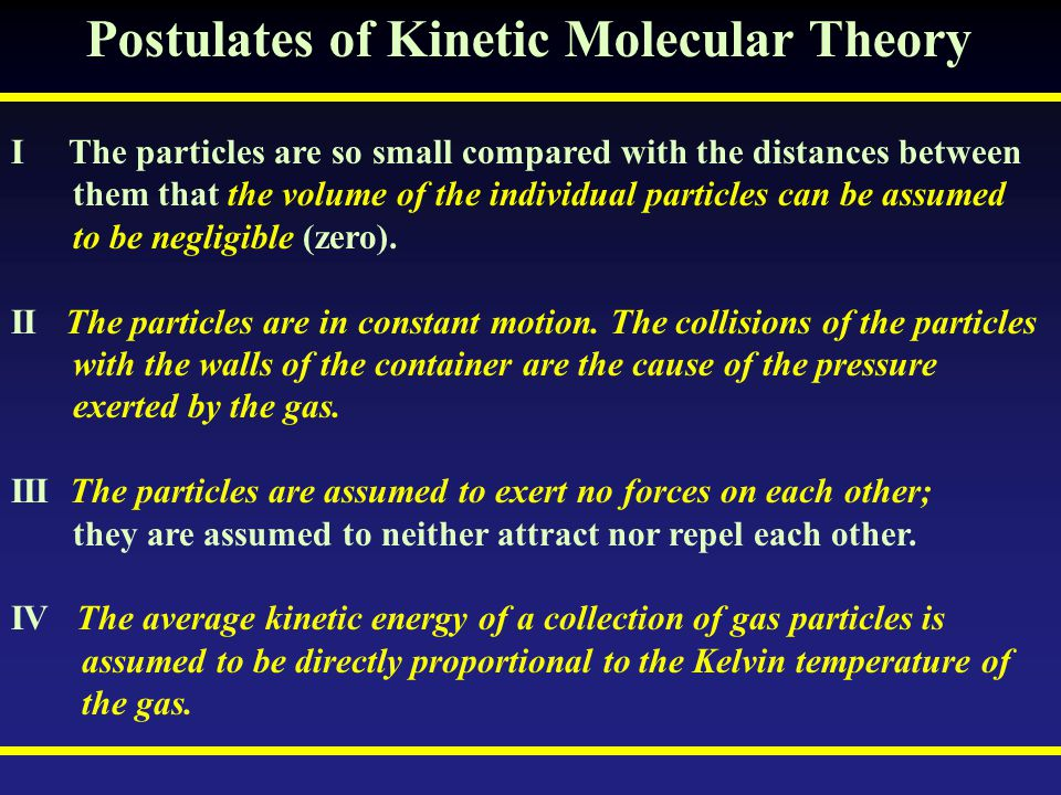 Postulates of Kinetic Molecular Theory I The particles are so small compared with the distances between them that the volume of the individual particl