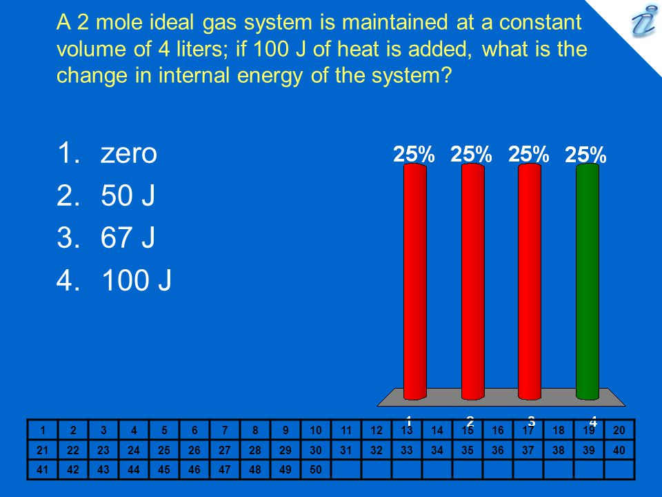 A 2 mole ideal gas system is maintained at a constant volume of 4 liters; if 100 J of heat is added, what is the change in internal energy of the syst