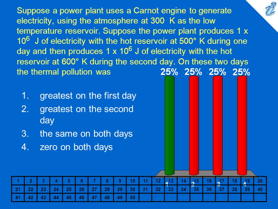 Suppose a power plant uses a Carnot engine to generate electricity, using the atmosphere at 300 K as the low temperature reservoir. Suppose the power