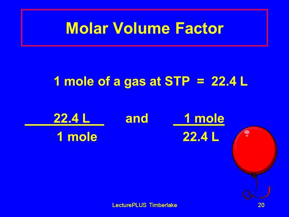 LecturePLUS Timberlake20 Molar Volume Factor 1 mole of a gas at STP = 22.4 L 22.4 L and 1 mole 1 mole 22.4 L
