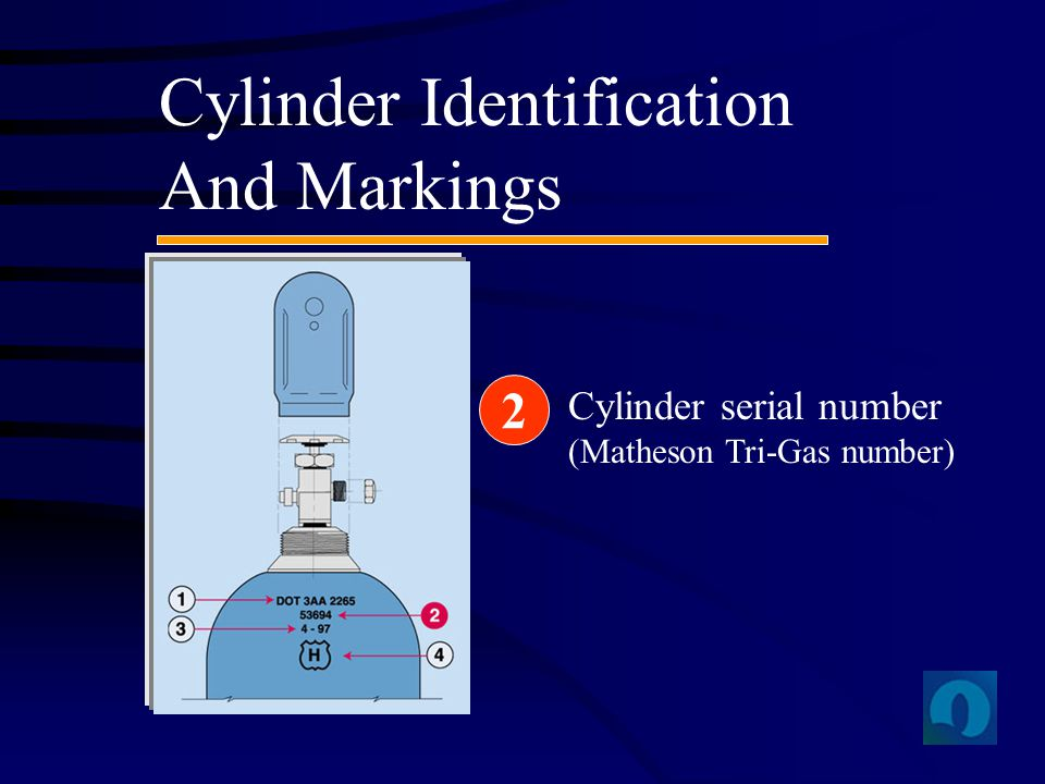 Cylinder Identification And Markings Cylinder serial number (Matheson Tri-Gas number) 2