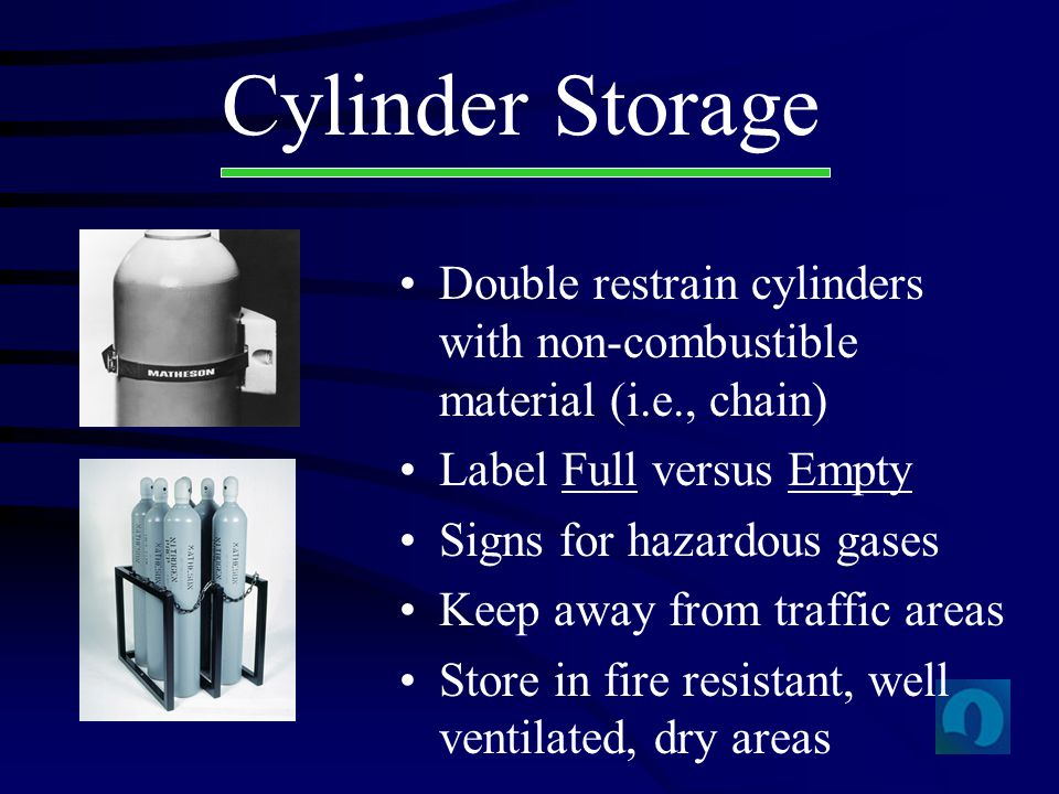 Cylinder Storage Double restrain cylinders with non-combustible material (i.e., chain) Label Full versus Empty Signs for hazardous gases Keep away fro