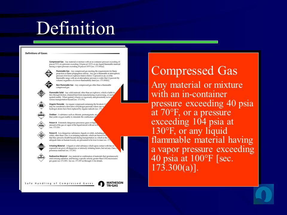 Definition Compressed Gas Any material or mixture with an in-container pressure exceeding 40 psia at 70 F, or a pressure exceeding 104 psia at 130 F,