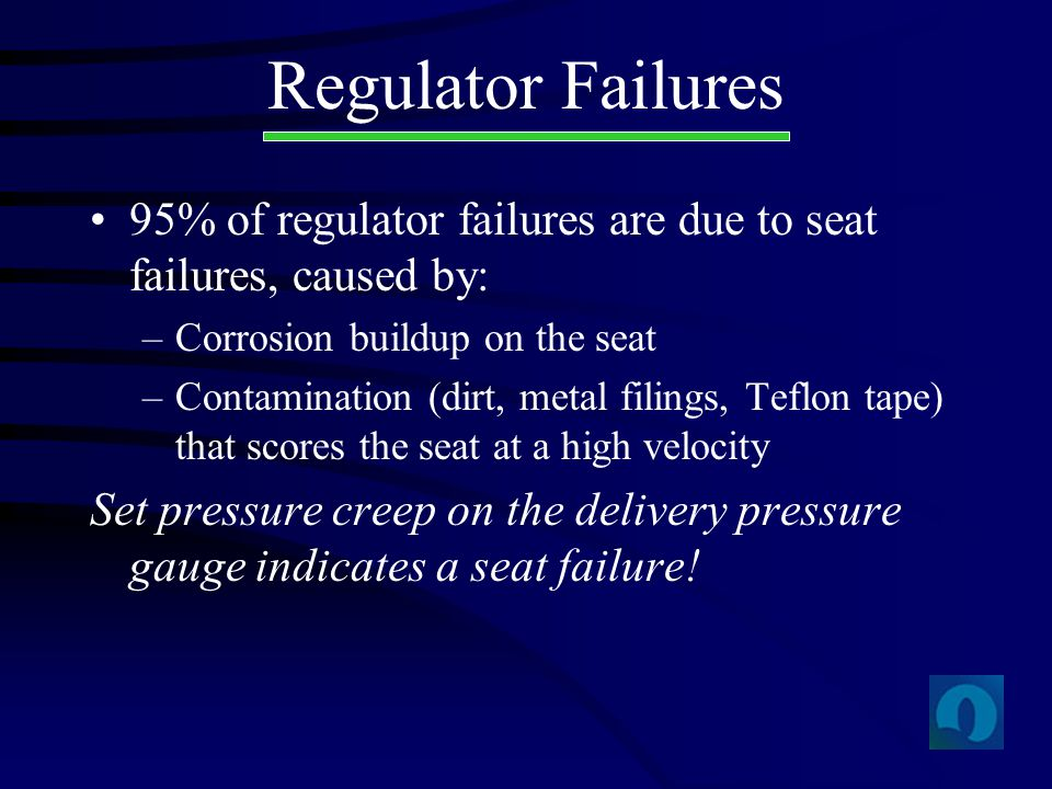 95% of regulator failures are due to seat failures, caused by: –Corrosion buildup on the seat –Contamination (dirt, metal filings, Teflon tape) that s