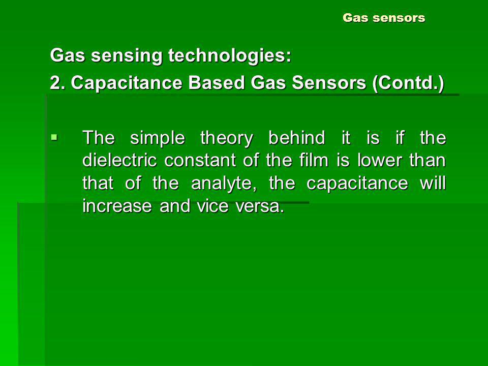 Gas sensors Gas sensing technologies: 2. Capacitance Based Gas Sensors (Contd.) The simple theory behind it is if the dielectric constant of the film