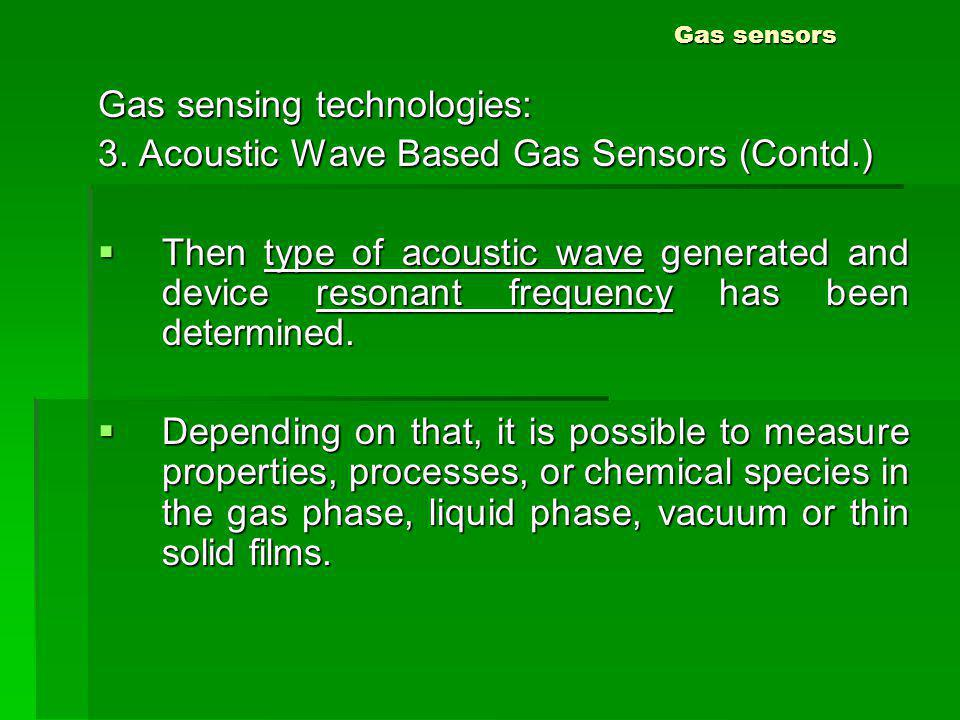 Gas sensors Gas sensing technologies: 3. Acoustic Wave Based Gas Sensors (Contd.) Then type of acoustic wave generated and device resonant frequency h