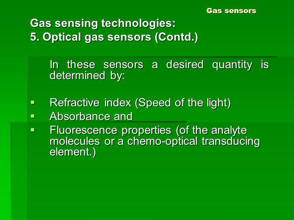 Gas sensors Gas sensing technologies: 5. Optical gas sensors (Contd.) In these sensors a desired quantity is determined by: Refractive index (Speed of