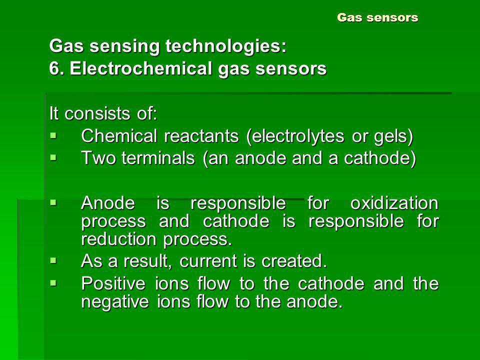 Gas sensors Gas sensing technologies: 6. Electrochemical gas sensors It consists of: Chemical reactants (electrolytes or gels) Chemical reactants (ele
