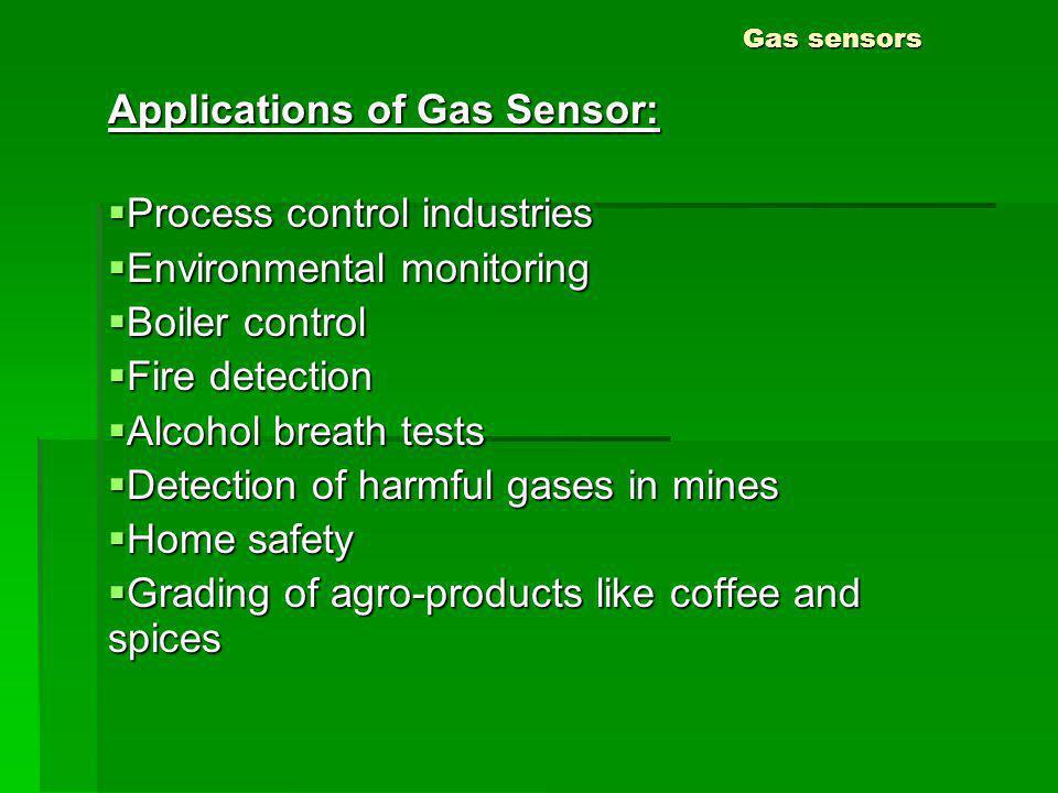Gas sensors Applications of Gas Sensor: Process control industries Process control industries Environmental monitoring Environmental monitoring Boiler