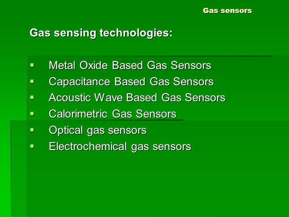 Gas sensors Gas sensing technologies: Metal Oxide Based Gas Sensors Metal Oxide Based Gas Sensors Capacitance Based Gas Sensors Capacitance Based Gas