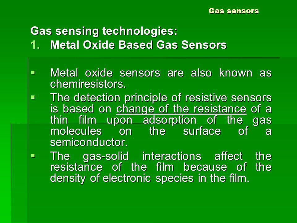 Gas sensors Gas sensing technologies: 1.Metal Oxide Based Gas Sensors Metal oxide sensors are also known as chemiresistors. Metal oxide sensors are al