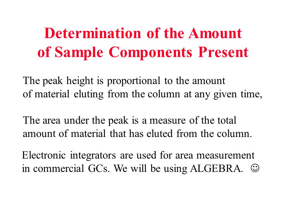 The peak height is proportional to the amount of material eluting from the column at any given time, The area under the peak is a measure of the total