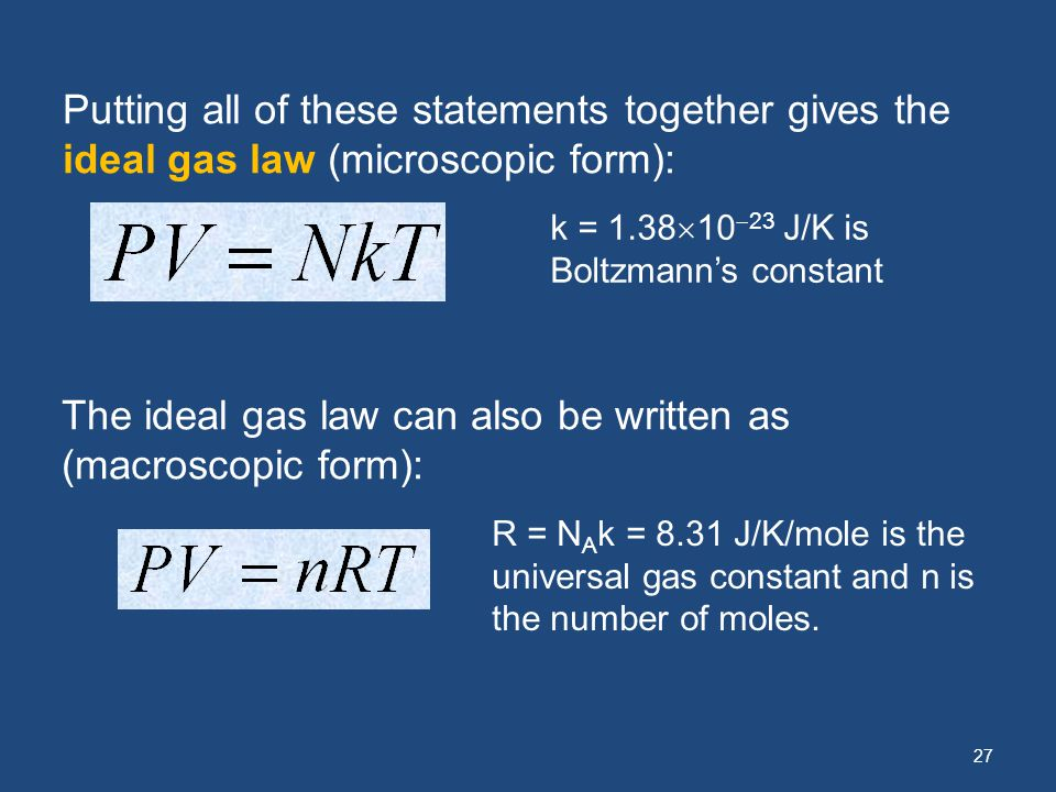 27 Putting all of these statements together gives the ideal gas law (microscopic form): k = 1.38 10 23 J/K is Boltzmanns constant The ideal gas law ca