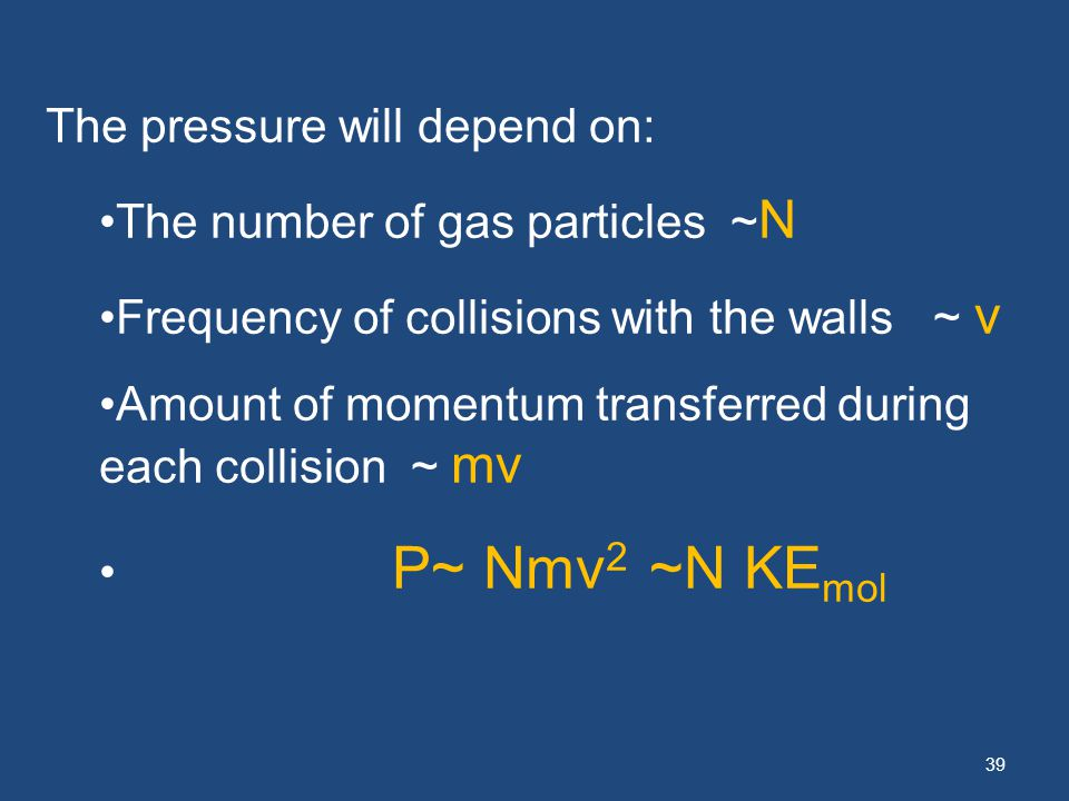39 The pressure will depend on: The number of gas particles ~ N Frequency of collisions with the walls ~ v Amount of momentum transferred during each