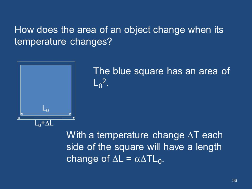 56 How does the area of an object change when its temperature changes? The blue square has an area of L 0 2. With a temperature change T each side of