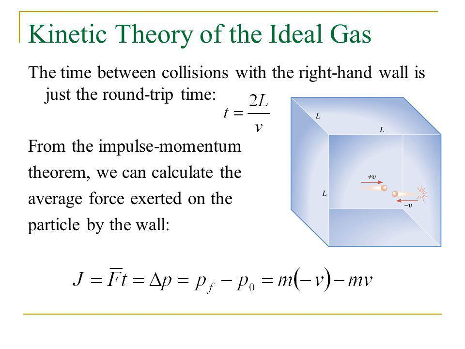 Kinetic Theory of the Ideal Gas The time between collisions with the right-hand wall is just the round-trip time: From the impulse-momentum theorem, w