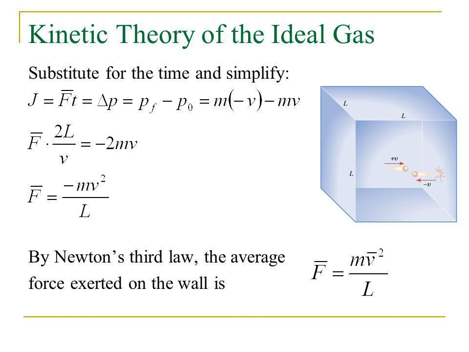 Kinetic Theory of the Ideal Gas Substitute for the time and simplify: By Newtons third law, the average force exerted on the wall is