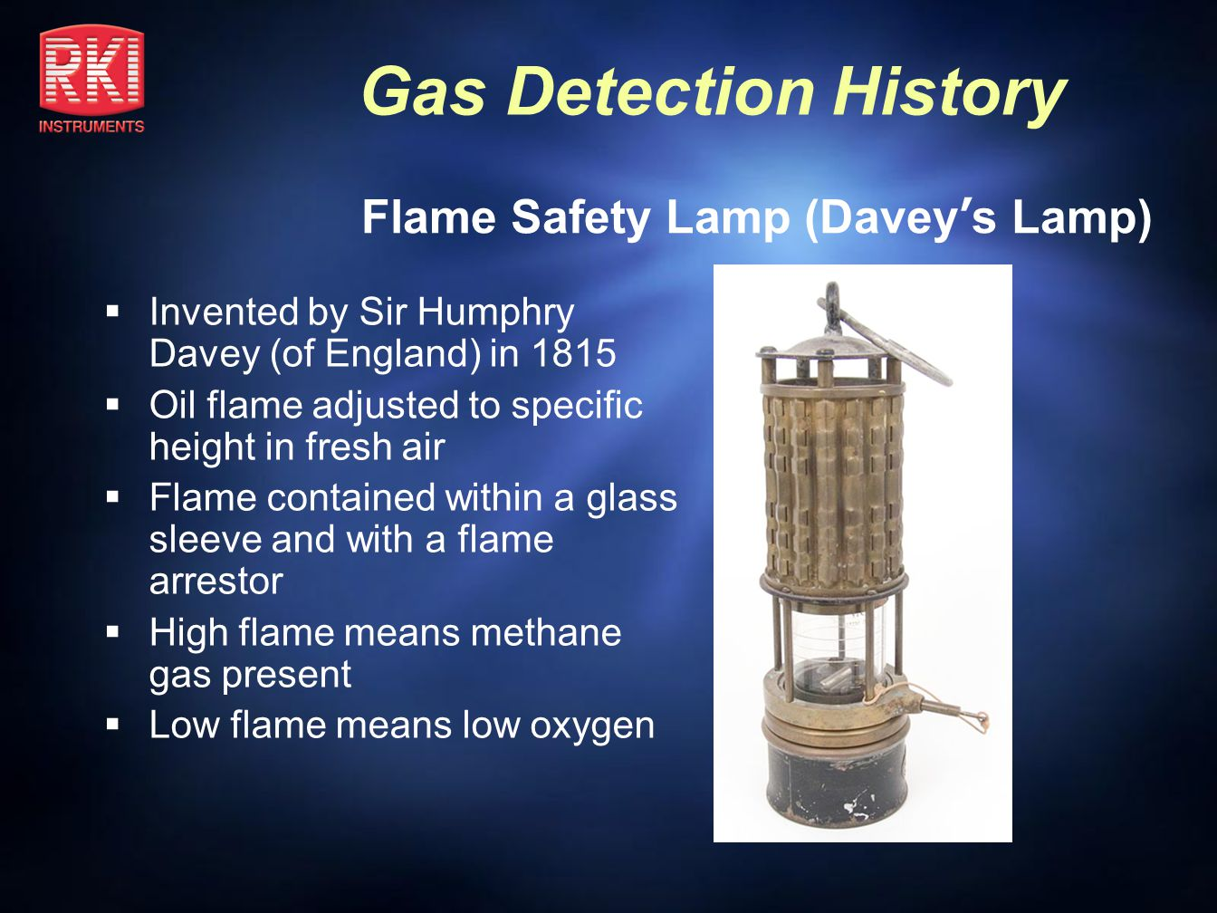 Gas Detection History Interferometer Uses principle of light diffraction in air to indicate presence of methane or gasoline vapors Light diffraction creates visible fringe lines that shift to indicate gas concentration